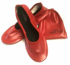 Women's Foldable Portable  Ballet Flat  Shoes w/ Matching Carrying Case