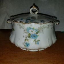 Haviland Limoges CH Field GDA France blue flower covered vegetable goldrim china