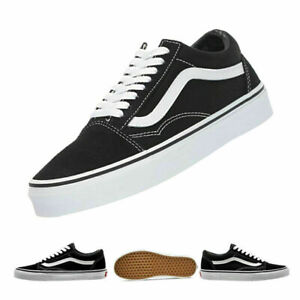 Unisex Herren DamenVans Old Skool Schwarz Weiß Sneaker Skate schuhe EU36-44