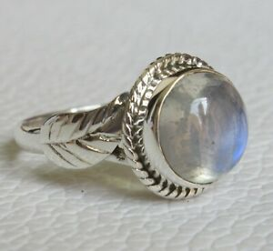925 Sterling Silver Rainbow Moonstone Ring Fine Handmade Jewelry Gift sk29