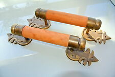 """2 large DOOR handle pull solid brass ends wooden old vintage asian style 15"""" B"""