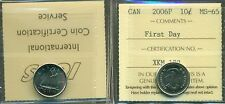 "2006P Canada 10 cent Certified ICCS MS-65 ""First Day"""
