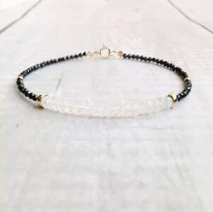 14k Moonstone And Black Spinel Gemstone Gold Beaded Bracelet Handmade Jewelry