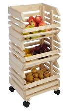 3 Tier Wooden Kitchen Vegetable Fruit Storage Food Rack Portable Organizer