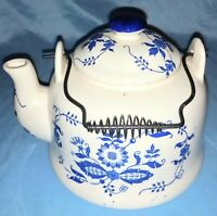 "Vintage Ceramic Teapot Blue Floral On White With Lid Handle Japan 7 1/2"" Wide 4"