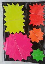 50 x Stelle fluorescente al neon Flash prezzo display tag etichette shop taglie assortite