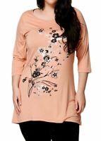 New Ladies Plus Size Purple Silver Peach Flower Print Tunic Floral Top 16 - 32