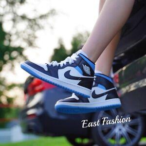 Nike Air Jordan 1 Mid University Blue Black White Women's Size 6-12 BQ6472-102