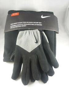 Nike Sport Fleece Tech Gloves and Scarf Black Gray Cold Running Set Sz M