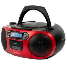 Aiwa BBTC - 550rd rojo reproductor de CD Radio casete BT USB Boombox mp3 jugador soportable