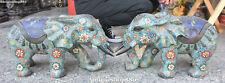 Paire de statuettes d'animaux éléphants en bronze émaillé cloisonné