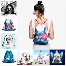 Fashion Women 3D Printing Backpack Travel Softback School Sport Drawstring Bag
