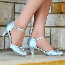LADIES SATIN LOW KITTEN HEEL ANKLE STRAP WEDDING EVENING PARTY SHOES SIZE 3-9