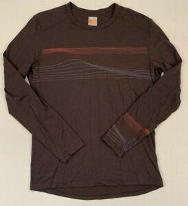 icebreaker 200 merino wool crewneck long sleeve brown pullover shirt sz large