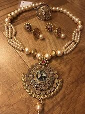 New Indian Pakistani Ethnic Bollywood Pearl Moti Necklace Pendant Ring Earring