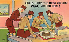 World War II,WACS,Cutting a Cake,Linen,Patriotic,c.1940s