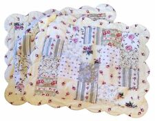 """Quilted Patchwork Pillow Shams Standard 21 X 28"""" Country Cottage Floral Roses"""