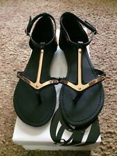 Nine West Jackson Black & Gold Flat Sandals 6M