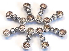 8 - 2 HOLE SLIDER BEADS TRI COLOR SILVER BRASS COPPER DIMPLED HAMMERED DESIGN