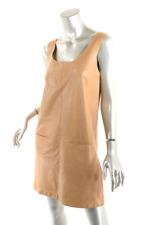 VINCE Butterscotch 100% Leather Tank Dress with Pockets  US 8  Very Soft + Light