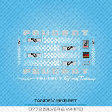 Peugeot Tandem Bicycle Decals - Transfers - Stickers - Silver & White - Set 772