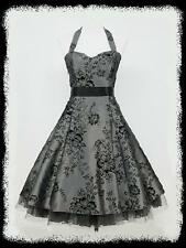 dress190 Grey 50s Halter Floral Rockabilly Prom Ball Party Cocktail Dress 8-26