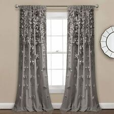 "Set of 2 Curtains Drapes 84"" x 54"" Gray Bows Waterfall Shabby Chic Farmhouse"