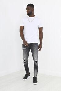 BRAVE SOUL Men's Stretch Skinny Fit Ripped Paint Splatter Grey Jeans