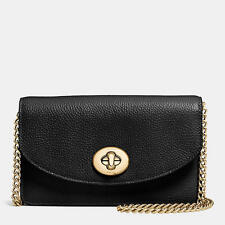 NWT COACH CLUTCH CHAIN WALLET IN PEBBLE LEATHER F53578 LIGHT GOLD BLACK