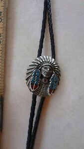 Indian  Headdress Genuine Turquoise & Coral Bolo Tie leather Cord