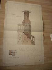 DESSIN D'ARCHITECTURE 1896 UNE CHAIRE A PRECHER EGLISE