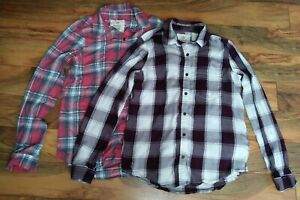 SO Lot of 2 Women's Perfect Shirt Size S Soft Flannel Button Down Plaid Shirt