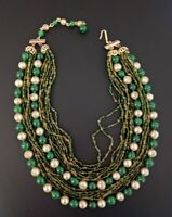 Vintage Multi Strand Glass Bead Necklace Faux Pearl & Green Glass Japan