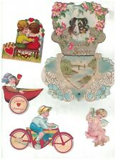 Valentine's Day Lot of Vintage Cards Stand-Ups Etc Scraps