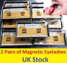 2 Pairs Magnetic Eyelashes Reusable False Eye Lashes Natural No Glue 4 Pieces UK