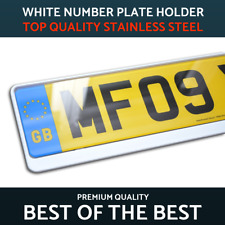 1 x Luxury White Stainless Steel Number Plate Holder Surround for any Peugeot