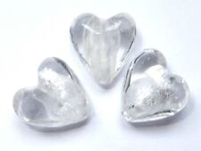 Silver Foil Glass Beads - Hearts - Crystal Clear - 12mm/1mm hole - 10 beads
