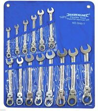 Silverline 14 Piece Metric Flexible Combination Ring Open End Ratchet Spanner