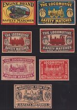 US Vintage Safety Match Labels lot of 7 from Sweden GREAT COLORS Some scarce!