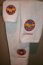 Wonder Woman Circle Logo Personalized 3 Piece Bath Towel Set  Super Hero