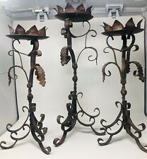3 Candlesticks/Holders Medieval Metal Pillar Candles Twisted Scroll Tall Unique