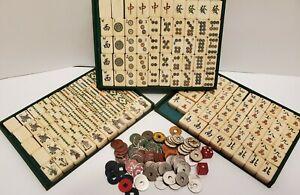Vintage Chinese Mahjong Bovine Bone & Bamboo 148 Tiles w coins