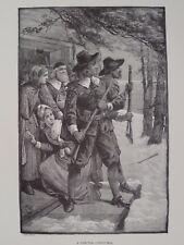A Puritan Christmas New England 17th Century Print 1894