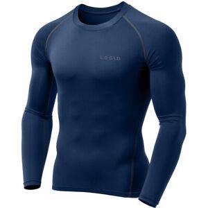 TSLA Tesla Men's Long Sleeve Shirt Cool Dry Compression MUD01 BLUE GREY NAVY NEW