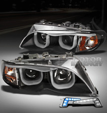 02-05 BMW E46 3-SERIES 325I 330I 4DR BLACK PROJECTOR HEAD LIGHTS+BLUE 3D DRL LED