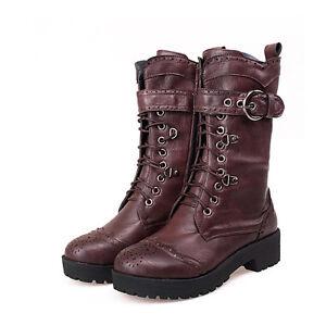 Women's Punk Gothic Lace Up Rivet Buckle Mid-Calf Combat Mid Calf Boots Shoes 5