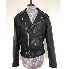 Stylish Genuine Vintage Classic Black Leather Biker Jacket