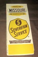 Vintage Sovereign Service,Missouri Road Map,Highways,Arkansas City,Kansas,1950's