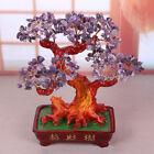 Lucky Feng Shui Quartz Crystal Money Tree Bonsai Style Luck Wealth Decor Purple