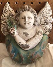 "Vintage Hand Carved Wood Angel Cherub Figure Bust Wall Hanging 8"" X 6.5"""